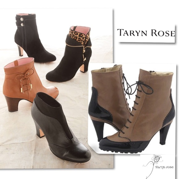 Taryn Rose Shoes - Taryn Rose Nappa Black laced up Spectator Boots 8